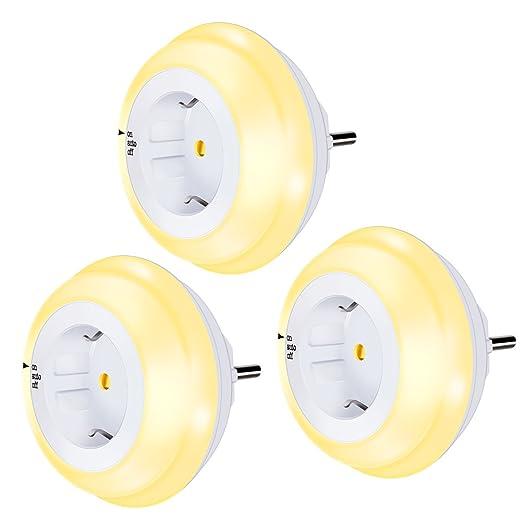 Luz de noche Enchufe con Sensor Crepuscular,Emotionlite LED Lámpara de noche Niños protegen,