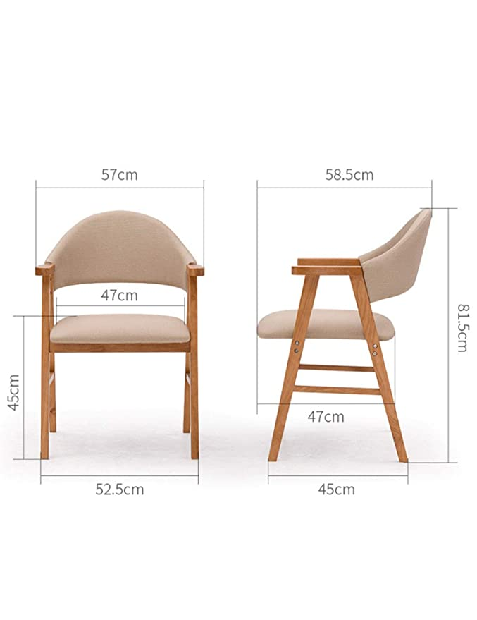 Amazon.com: Solid Wood Dining Chair Modern Minimalist Study Backrest ...