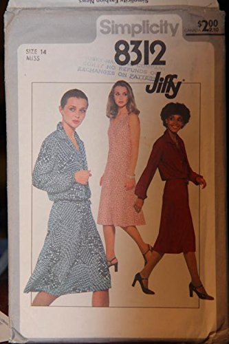 - Simplicity Pattern 8312 - Size 14 Miss - Misses' Jiffy Dress And Unlined Jacket