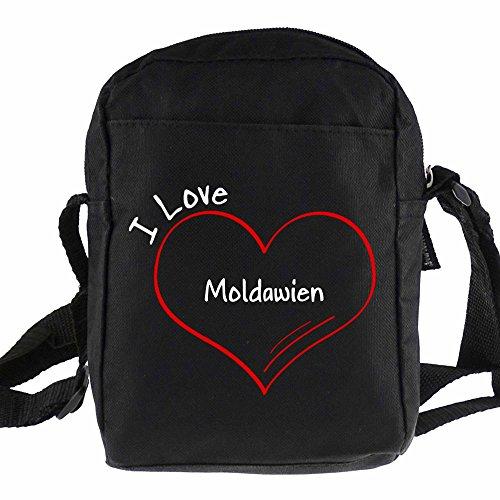 Umhängetasche Modern I Love Moldawien schwarz