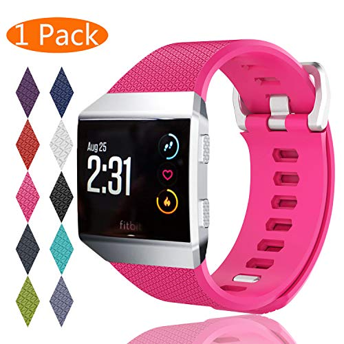KingAcc Compatible Replacement Bands for Fitbit Ionic, Soft Silicone Fitbit Ionic Band with Metal Buckle Fitness Wristband Strap Women Men (1-Pack, Rose, Small)