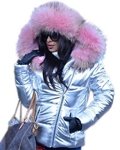 - Aofur Womens Ladies Quilted Winter Coat Fur Collar Hooded Down Jacket Parka Outerwear (XX-Large, Silver Pink Fur)