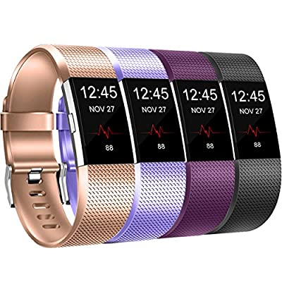 GEAK Replacement Bands For Fitbit Charge 2, [4 Pack] Classic Adjustable Replacement Bands With Stainless Steel Buckle Small Large