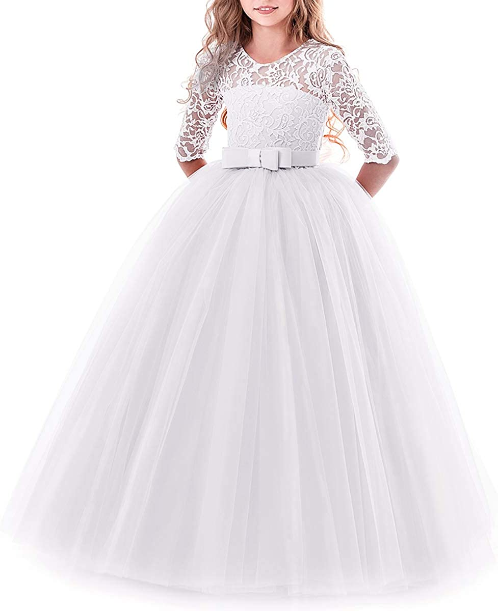 Flower Girls Lace 3//4 Sleeve Dress Wedding Bridesmaid First Communion Evening Party Floor Length Dress Kids Princess Pageant Birthday Prom Carnival Christmas Ball Gown