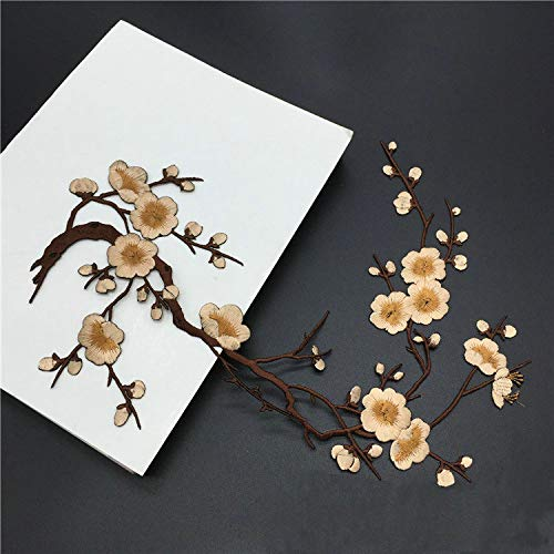 (1pcs Plum Blossom Flower Applique Clothing Embroidery Patch Fabric Sticker Iron On Patch Craft Sewing Repair Embroidered(Bud Green) (Color 15))