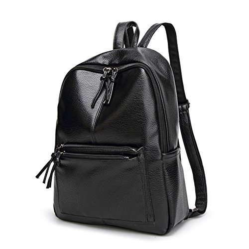 Multi Leisure Capacity Travel Shoulder Bag Handbag function Girls Republe Backpack Black Women Leather PU Large fRwwSzapq
