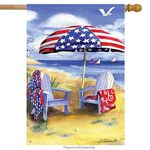 Briarwood Lane Patriotic Beach Summer House Flag Nautical 4th of July Adirondack Chairs 28x40
