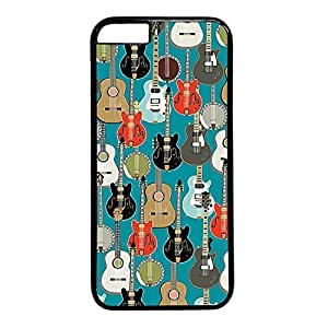 Diy Flexible iPhone 6 Plus PC Black case with Cool Style Image with Guitar Pattern
