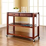 Kitchen Cabinet Top Decor Crosley Furniture Stainless Steel Top Kitchen Cart/Island with Optional Stool Storage in Classic Cherry Finish