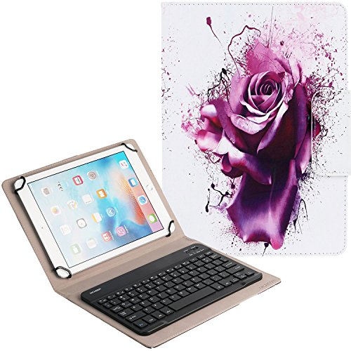 yboard Leather Case,Universal Compact Portable Case for iPad,Android,Windows Tablet (9 to 10 inch),Lightweight Slim Shell Standing Cover with Card Slots-Purple Rose Design (05) ()