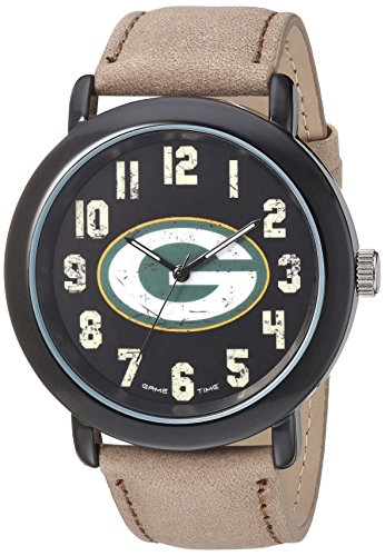 Packers Dart Bay Green (Game Time Men's 'Throwback' Quartz Metal and Leather Casual Watch, Color:Beige (Model: NFL-TBK-GB))