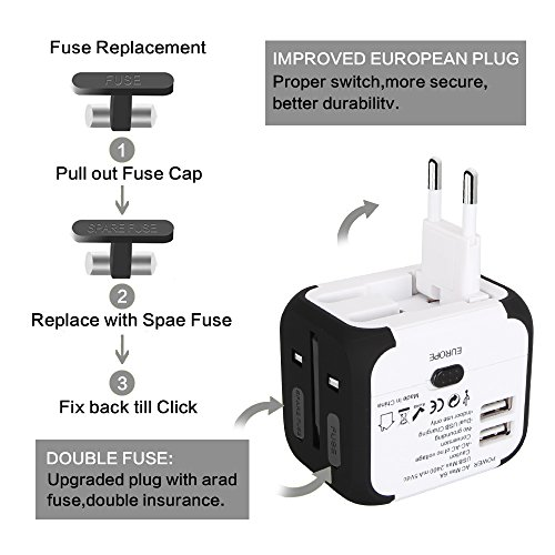 Travel Adapter Uppel Dual USB All-in-one Worldwide Travel Chargers Adapters for US EU UK AU about 152 countries Wall Universal Power Plug Adapter Charger with Dual USB and Safety Fuse (White)