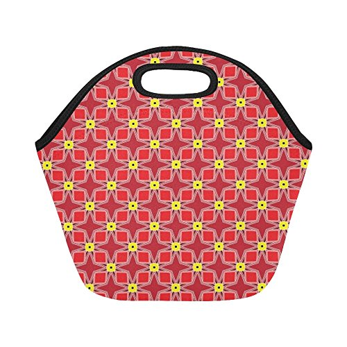 Insulated Neoprene Lunch Bag Red Yellow Pattern Design Large Size Reusable Thermal Thick Lunch Tote Bags For Women,teens,girls,kids,baby,adults-lunch Boxes For Outdoors,work, Office, School