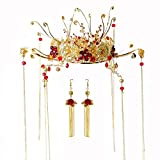 Crystal Crown, Beautiful headdress/Chinese Ancient Costume Bridal Crown Xiu Wo Dress Headgear Golden Fringes Toast Wedding Accessories.