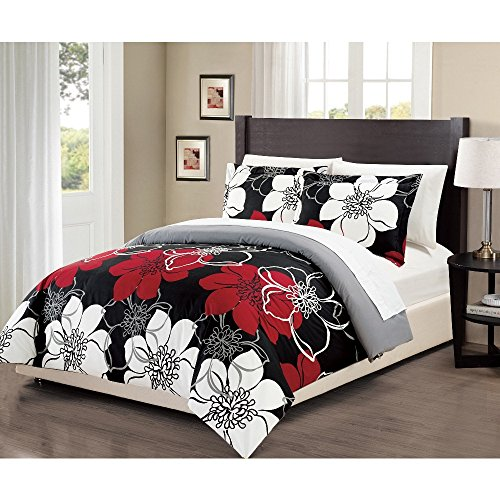 3-Piece-Girls-Red-White-Grey-Black-Floral-Theme-Duvet-Cover-Queen-Set-Pretty-Chic-All-Over-Flower-Bedding-Beautiful-Girly-Abstract-Flowers-Pattern-Solid-Reversible-Gray-Themed-Dark-Burgundy