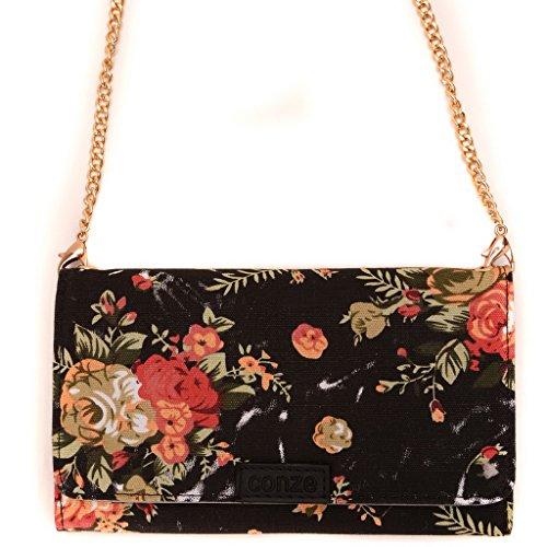 Conze moda teléfono celular Llevar bolsa pequeña con Cruz cuerpo correa para Samsung Galaxy J1 Black + Flower Black + Flower