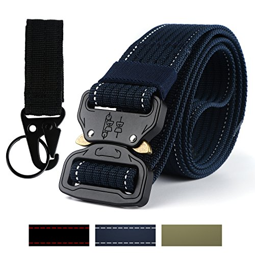 lt Military Style Riggers Web Nylon Belt with Heavy-Duty Quick-Release Buckle Come with 1 Metal Keychain Holder for Men Women (Dark Blue) (Heavy Duty Nylon Web)
