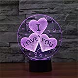 3D I Love You Illusion Night Lights,USB 7 Colors Change Touch Bedroom Table Desk LED Lamp for Decoration & Gifts