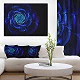 Fractal Silver Blue in Dark Floral Canvas Art print