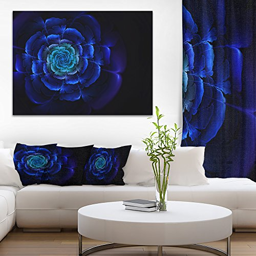 Fractal Silver Blue in Dark Floral Canvas Art print by Design Art