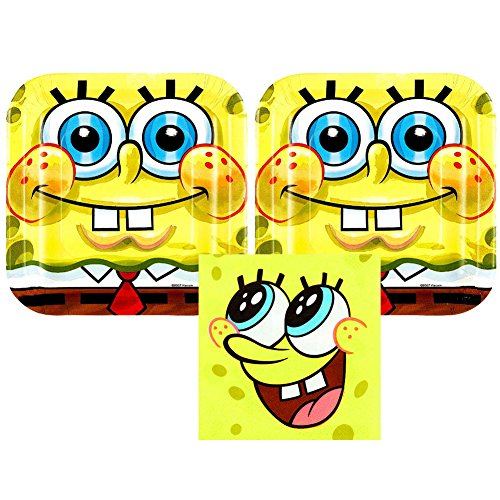 Spongebob Squarepants Party Pack for 16 Guests - 16 Dessert Plates and 16 Beverage -