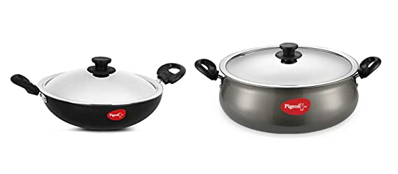 Pigeon Non Stick Kadai,150 with SS Lid   Dia 19.7cm and Non Stick Gravy Pot with Lid, 3 litres
