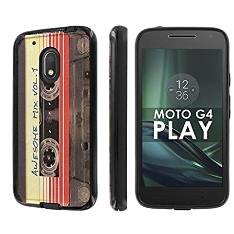 Motorola Moto G Play [4th Gen] Phone Case [NakedShield] [Black/Black] Dual Armor ShockProof Case - [Cassette Awesome Mix Vol. 1] for Moto [G4 (Motorola G Glass Covers)