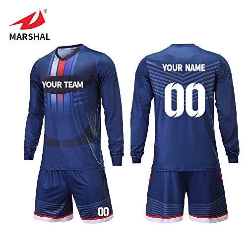 284942599 Marshal Jersey Custom Team Soccer Jerseys Keep Warm Long Sleeves Soccer  Uniforms Design Your Idea Unique Soccer Jersey (L)