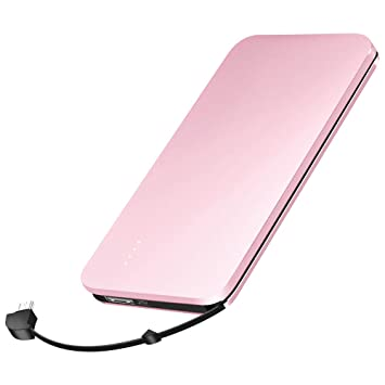 elzle Cargador portátil, Banco de energía de 10000mAh con Cable USB telescópico Incorporado y Adaptador iOS Batería portátil (Negro)