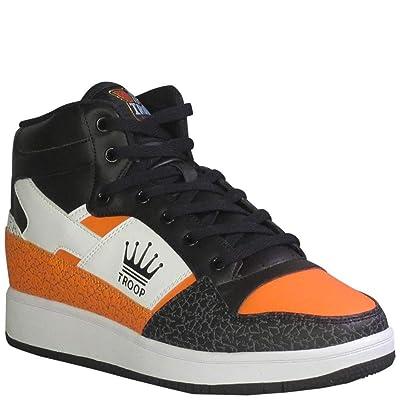 TROOP Men's Destroyer Mid Fashion Sneakers White/V Orange/Black 10.5 | Fashion Sneakers