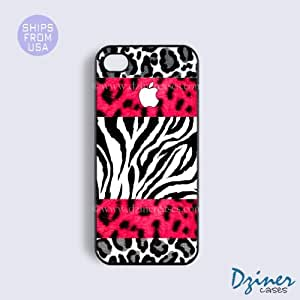 iPhone 4 4s Tough Case - White Red Zebra Leapord White Print iPhone Cover