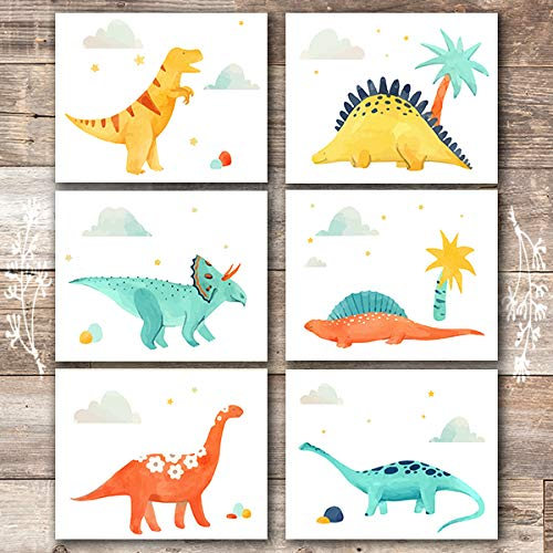 Dinosaur Wall Decor Art Prints (Set of 6) - Unframed - 8x10s -