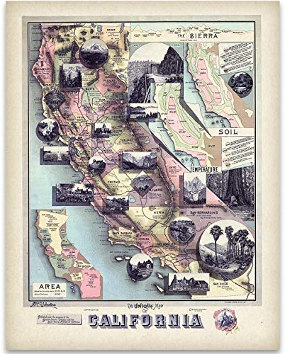 (1888 Unique Map of California Art Print - 11x14 Unframed Art Print - Great Vintage Home Decor)