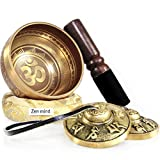 Tingsha Tibetan Singing Bowl Set by Zen Mind Design - with Tingsha Cymbals, Weighted Mallet, Handmade Cushion, Eco-Friendly Box and E-Book - for Yoga and Stress Relief Meditation