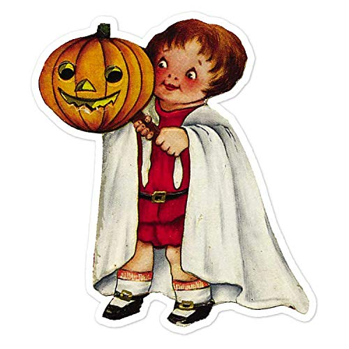 Child With Halloween Mask Ghost Costume - Vintage Holiday Painting - Vinyl Decal Sticker - 3.75
