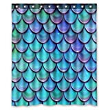 Blue Fish Shower Curtain KXMDXA Blue Purple Fish Scales Waterproof Polyester Bath Shower Curtain Size 60x72 Inch