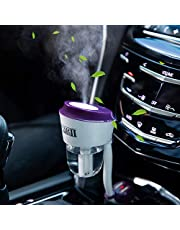 One Fire Car Humidifier Air Purifier Essential Oil Diffuser with Dual USB Charger Adapter, Air Refresher Purifier for Vehicle Automobile, Portable Car Diffuser Filters, Car Purifier Freshener Gift
