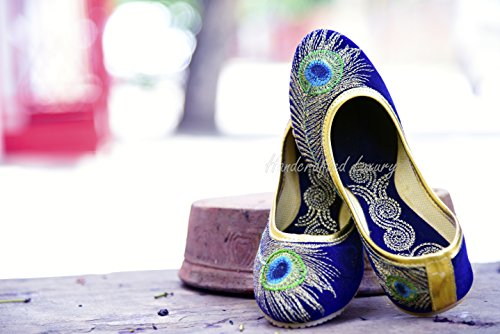 Handcrafted Luxury Bridal Womens Velvet Khussa Shoe Mojari Jooti Jutti Royal Blue And Golden R0sORkJ