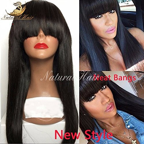 Brazilian Full Lace Wigs Straight Human with Bang Hair Glueless Lace Front Wigs for Black Women Full Lace Human Hair Wigs with Baby Hair (22 inch 180% density, lace frontal wig)