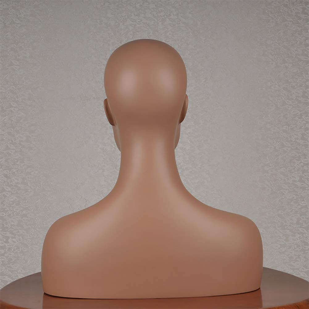 Europe and America style Female Mannequin Head with Shoulders and Bust Dark Skin Tone Display Stand Unit