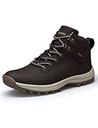 ZENGVEE Men's Snow Walking Boots High Top Leather Sports Hiking Shoes Winter Sneakers for Outdoor/Sport /Casual /Daily