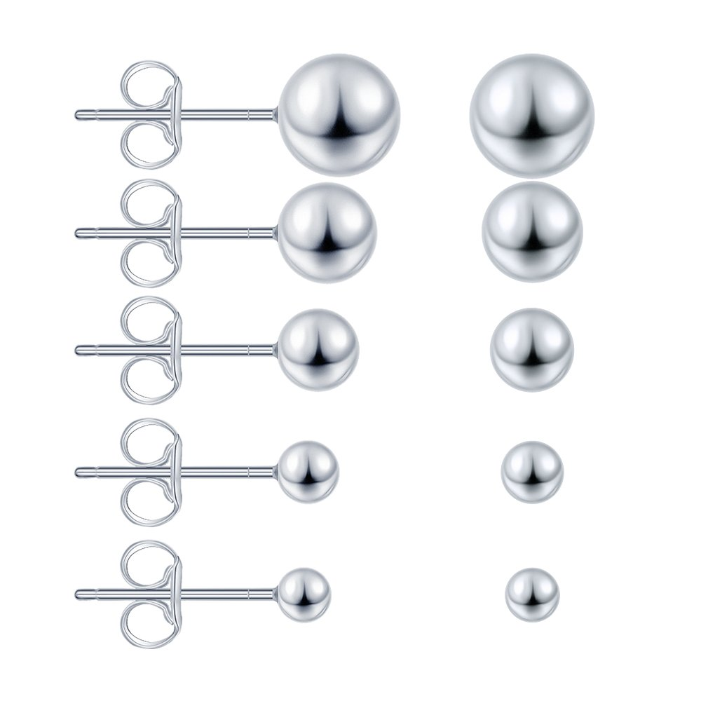 Men AoedeJ Ball Stud Earrings 925 Sterling Silver Tiny Ball Earrings for Women Girls Boys