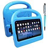 Protective Case for Samsung Galaxy Tab 3 Lite T110 & Tab E Lite 7.0 inch with Stylus, FineGood Convertible Light Weight Shock Proof EVA Cover for Kids, with Handle and Stands - Blue