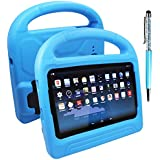 FineGood Protective Case for Samsung Galaxy Tab E Lite 7.0 inch & Tab 3 Lite T110 with Stylus, Convertible Light Weight Shock Proof EVA Cover for Kids, with Handle and Stands - Blue