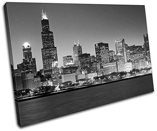 Bold Bloc Design – Chicago Cityscape City 135x90cm SINGLE Canvas Art Print Box Framed Picture Wall Hanging – Hand Made In The UK – Framed And Ready To Hang