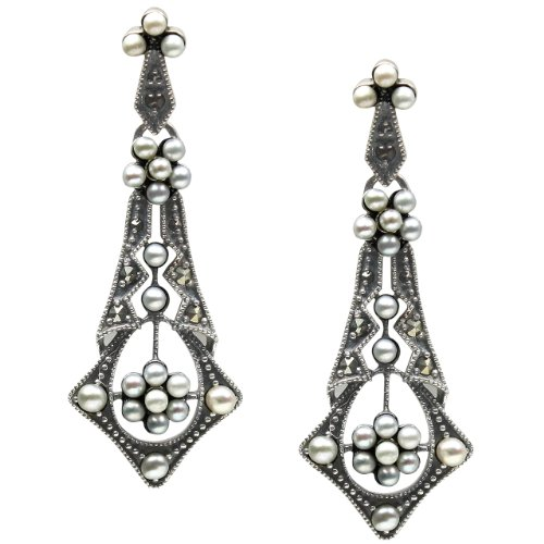 Tear Drop Cultured Seed Pearl Sterling Silver Earrings - Dahlia Vintage Collection ()