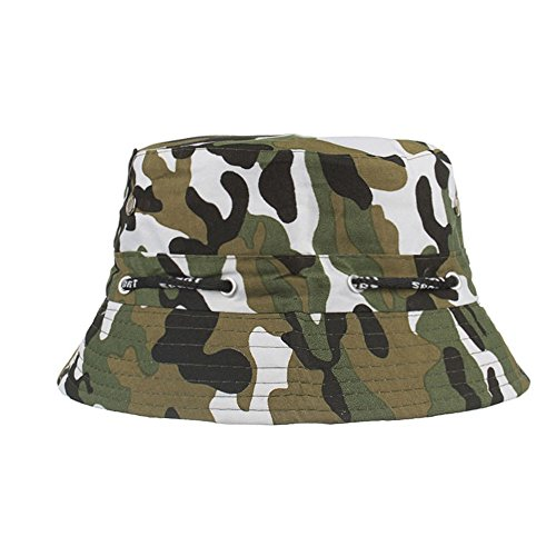 d879704039956 Unisex Camouflage Bucket Hat Summer Sunscreen Foldable Boonie Hats  Adjustable Outdoors Climbing Fisherman Hat (White