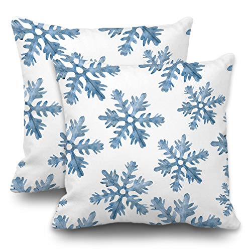 Blue Crystal Snowflake - Batmerry Set of 2 Merry Christmas Decorative Pillow Covers 18x18 inch,Blue Snow Winter with Snowflakes Falling White Crystal Double Sided Throw Pillow Covers Sofa Cushion Cover