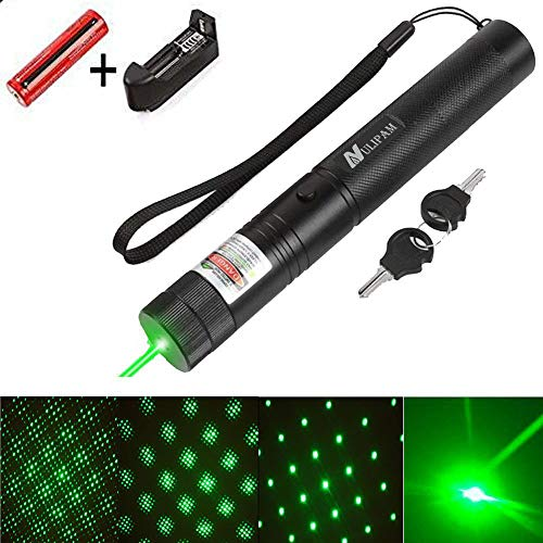 Beam Laser Pointer Green - NULIPAM Tactical Green Hunting Rifle Scope Sight Laser Pen, Demo Remote Pen Pointer Projector Travel Outdoor Flashlight, LED Interactive Baton Funny Laser Toy