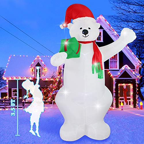 Fanshunlite Christmas Inflatable 8 FT Bear Lighted Blow-Up Yard Party Decoration for Xmas Airblown Inflatable Outdoor Indoor Home Garden Family Prop Yard from Fanshunlite